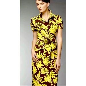 Diane Von Furstenberg Clio brown and yellow dress